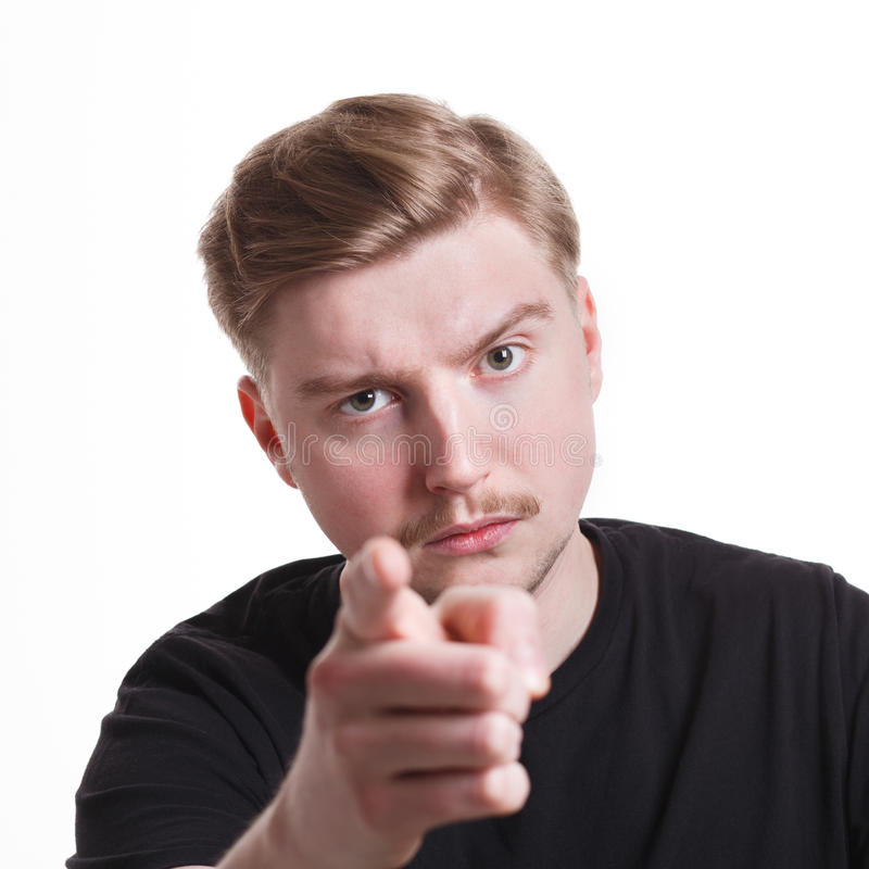 Strict man gesturing with index finger on you royalty free stock photography