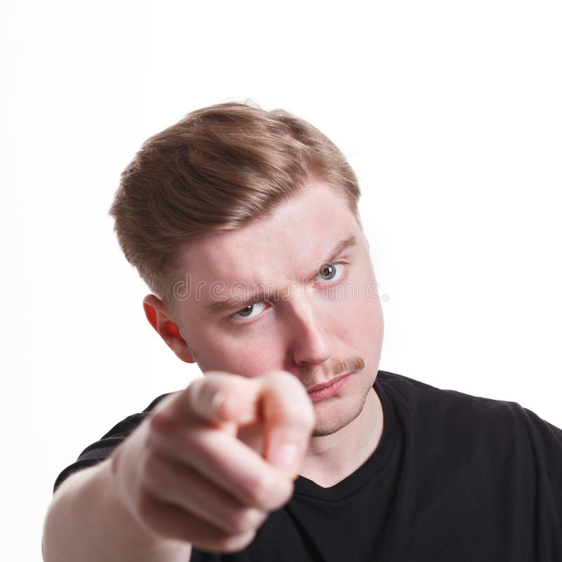Strict man gesturing with index finger on you royalty free stock images