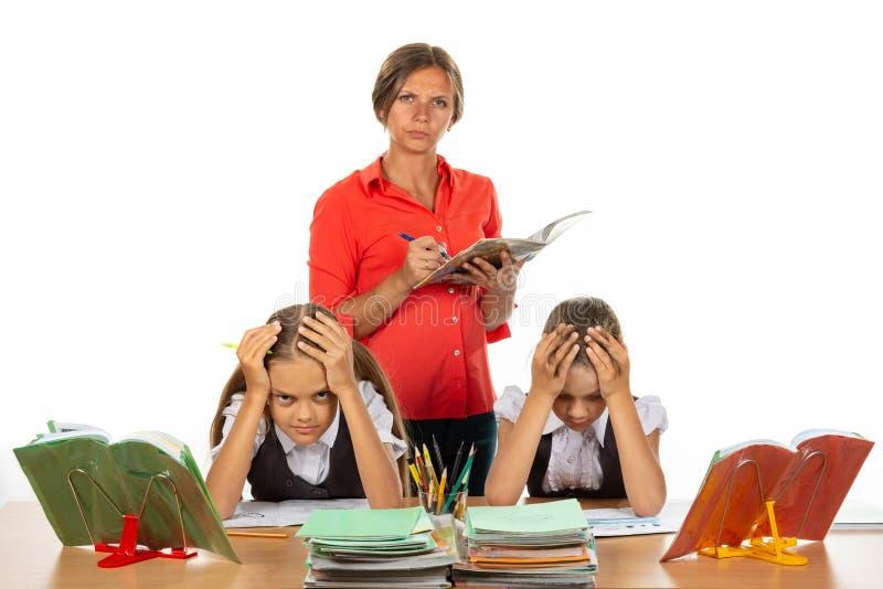 Strict teacher grades students stock image