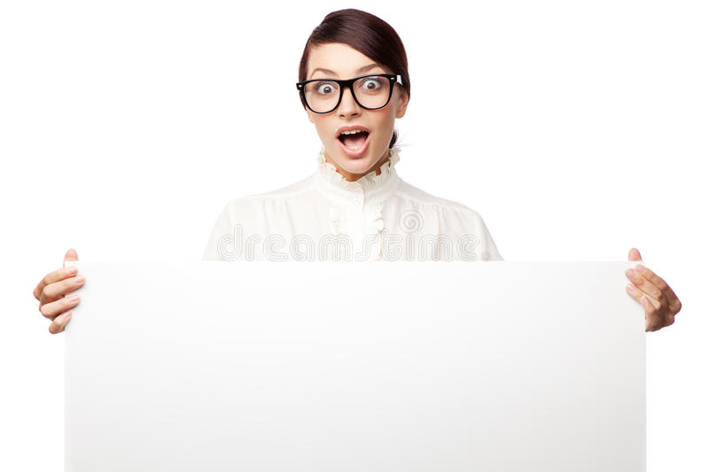 Strict woman in large glasses royalty free stock photography