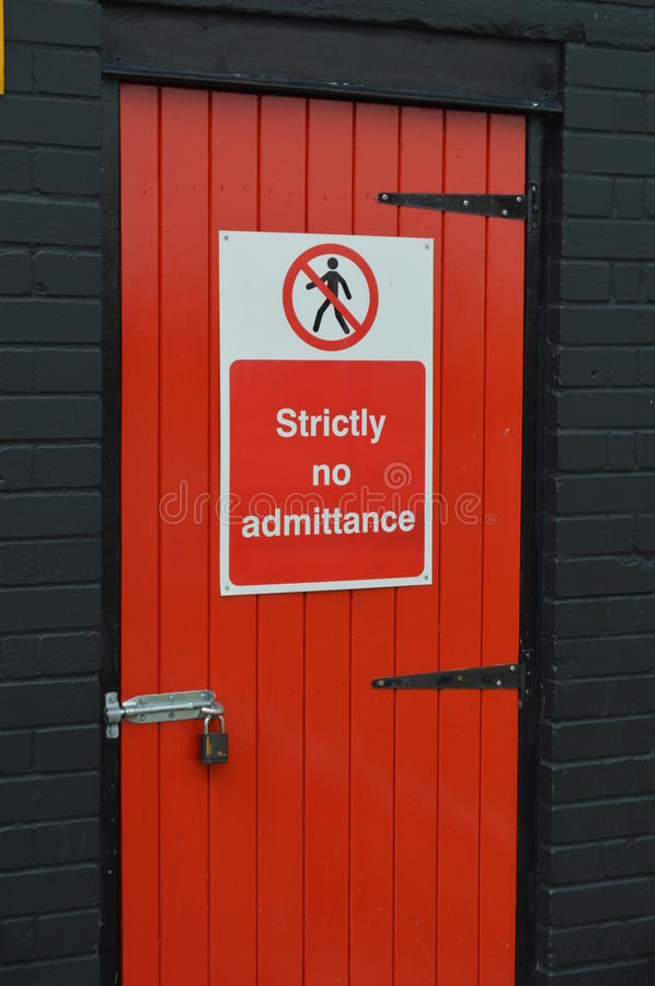 Strictly no admittance sign. stock photos