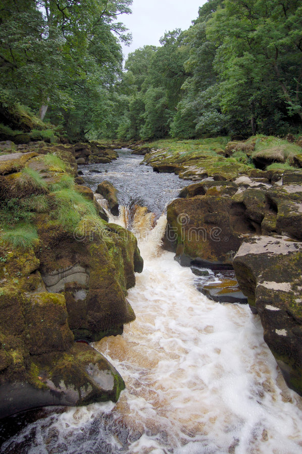 The Strid. The River Wharfe at the place known as 'The Strid'. A fast flowing waterfall with dangerous undercurrents royalty free stock image