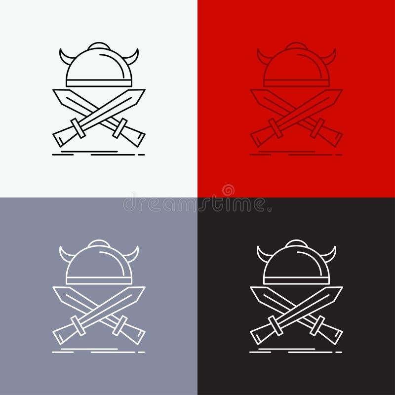strid emblem, viking, krigare, svärdsymbol över olik bakgrund Linje stildesign som planl?ggs f?r reng?ringsduk och app Vektor f?r vektor illustrationer