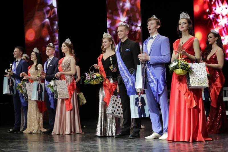 Strid'fröcken och herr Studenter av den Saratov regionen - 2019 ', royaltyfri bild