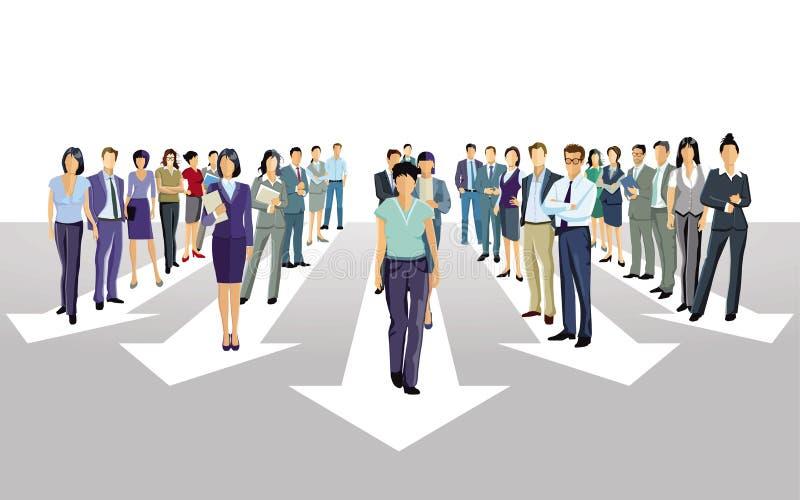 Stride forward direction together stock illustration