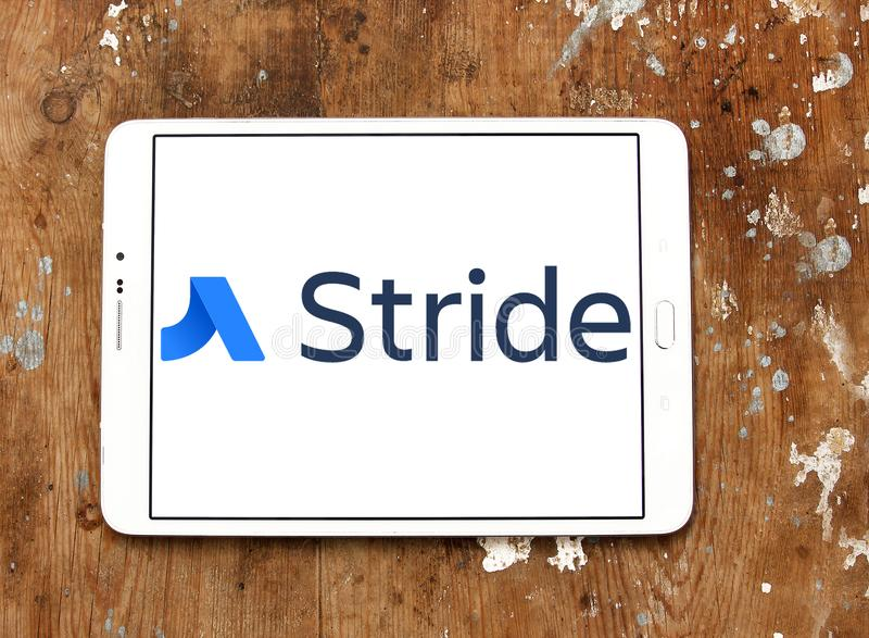 Stride software logo. Logo of Stride software on samsung tablet. Stride is a cloud based team business communication and collaboration tool, launched by stock image