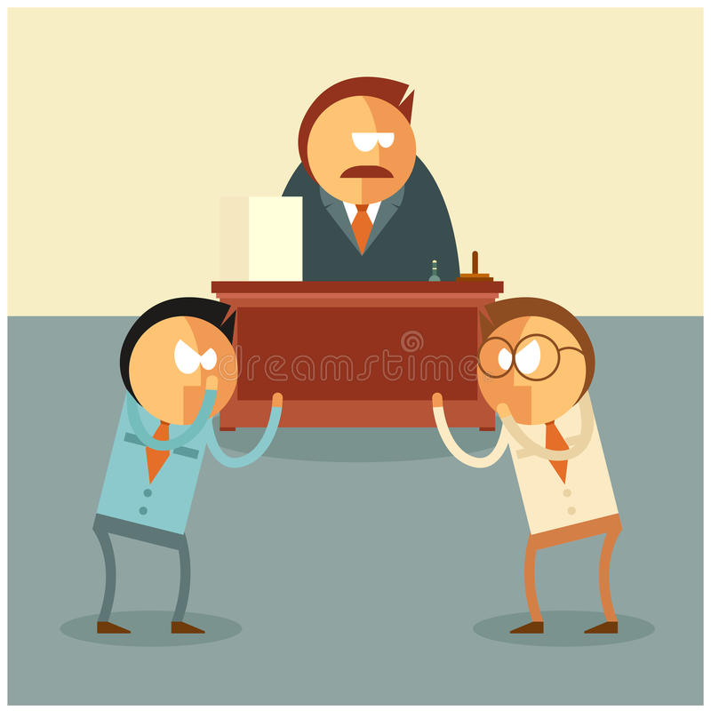 Stridighet av affärsmän för deras framstickande stock illustrationer