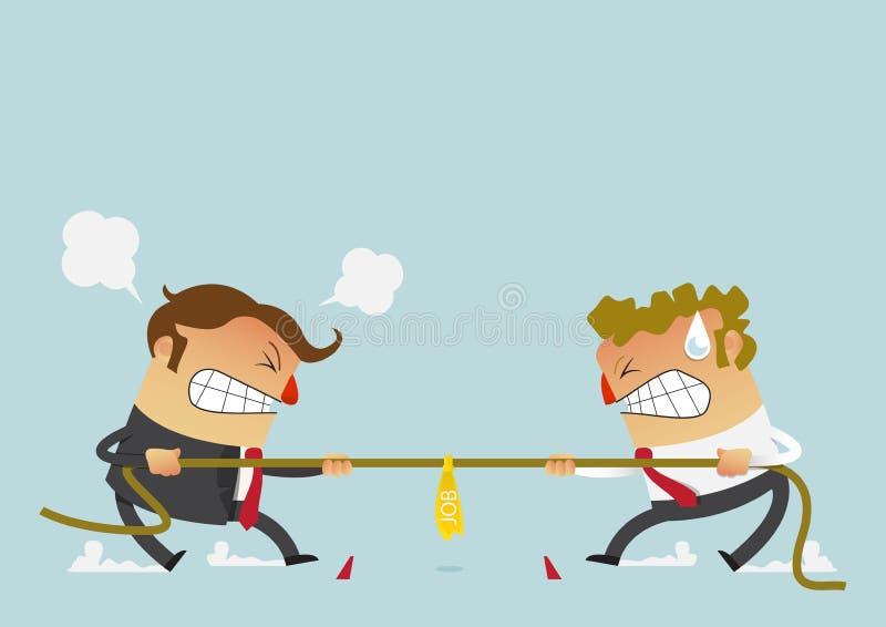 Stridighet för två affärsman i dragkampkonkurrensen som kunde precis definiera deras karriärer tecknad filmtecken i plan design stock illustrationer