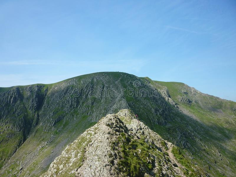 Striding Edge, Lake District, England. Hugely popular striding edge to helvellyn route, Lake District stock photography
