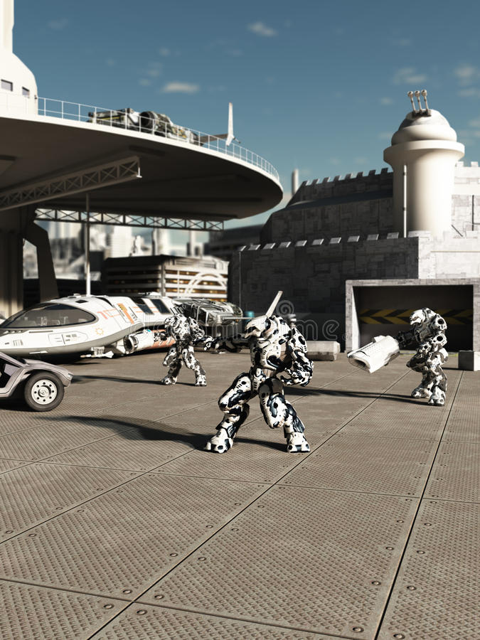 Stridrobotar på spaceporten royaltyfri illustrationer