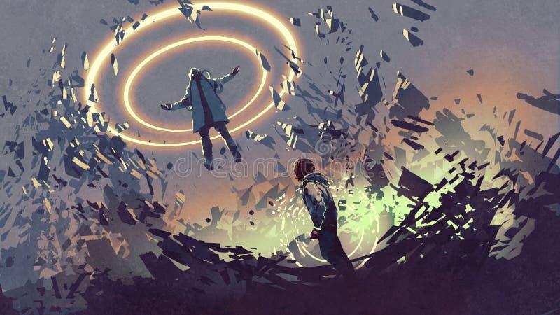 Strijd met futuristische magics royalty-vrije illustratie