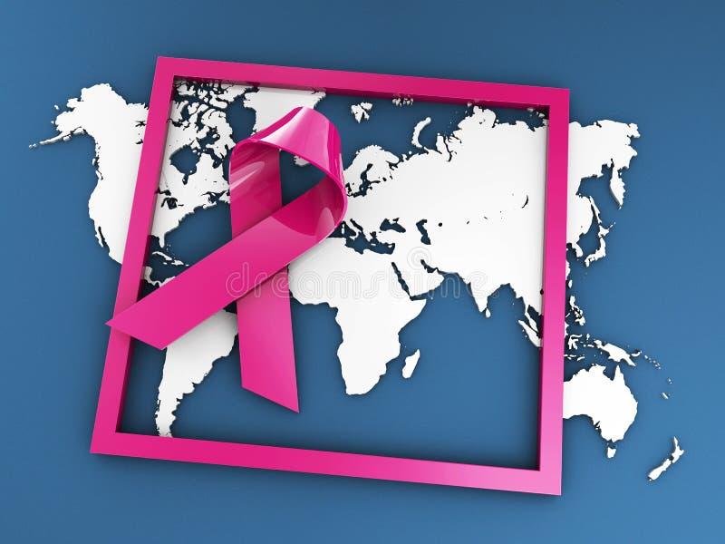 Strijd om Kanker, 3d Illustratie geïsoleerd blauw te beëindigen stock illustratie