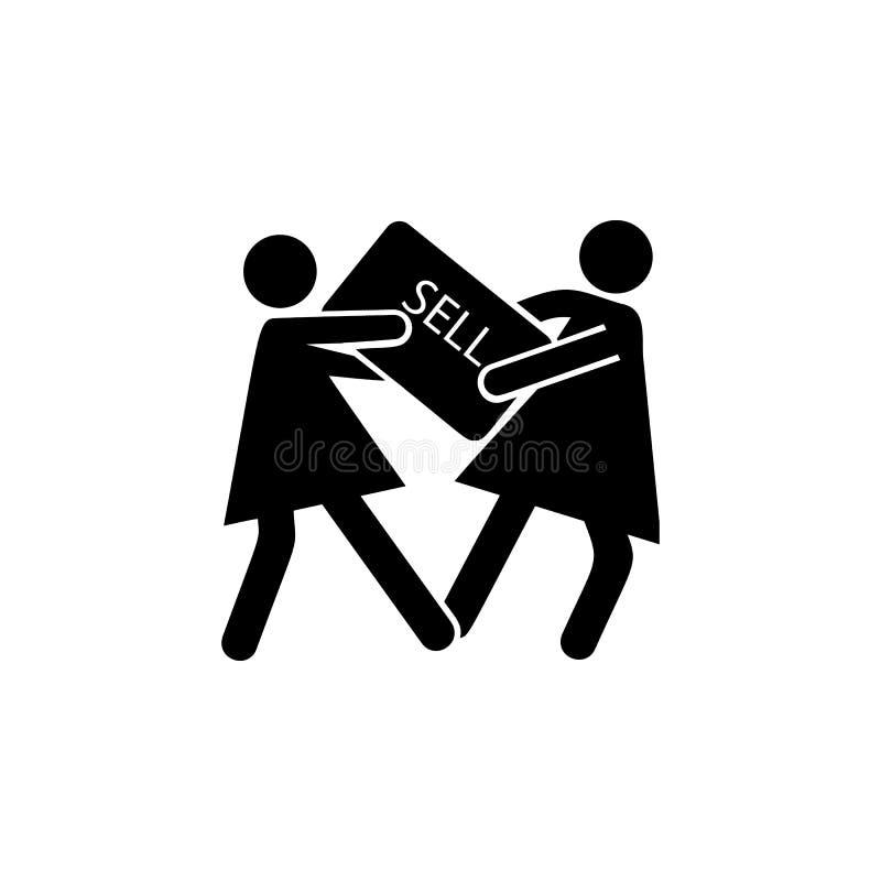 Strijd onder het pictogram van vrouwen Element van zwart vrijdagpictogram voor mobiel concept en Web apps De gedetailleerde Strij vector illustratie
