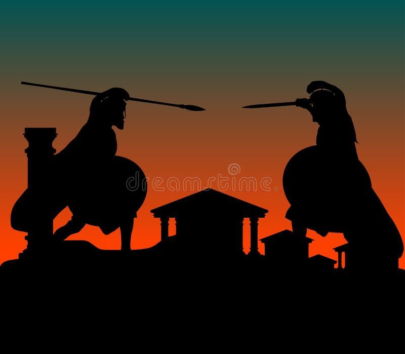 Strijd in oude stad stock illustratie