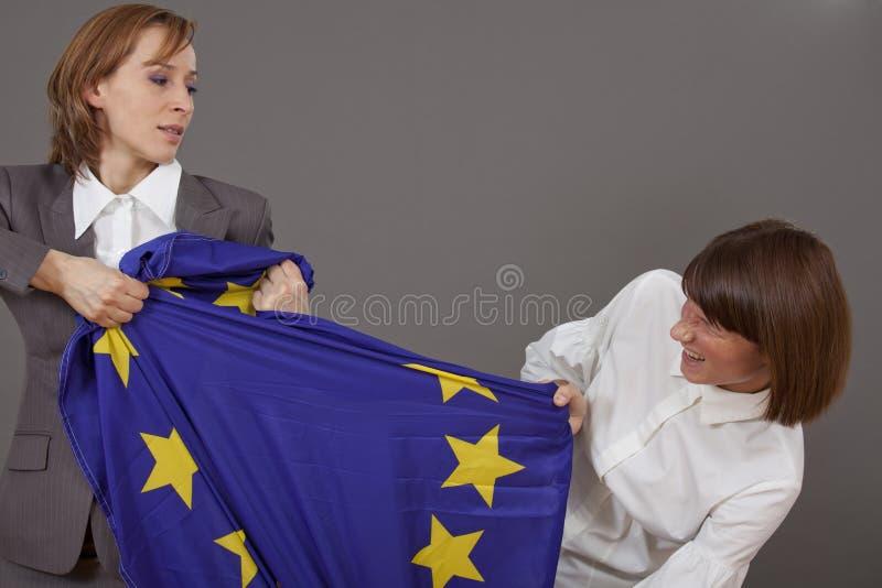 Strijd over Europese vlag royalty-vrije stock afbeeldingen