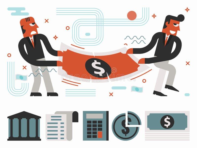 Strijd over geld royalty-vrije illustratie