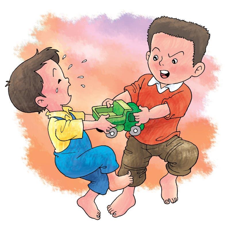 Strijd over stuk speelgoed stock illustratie