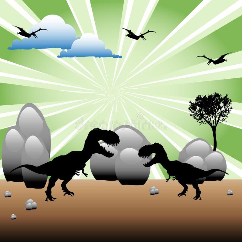 Strijd t-Rex stock illustratie
