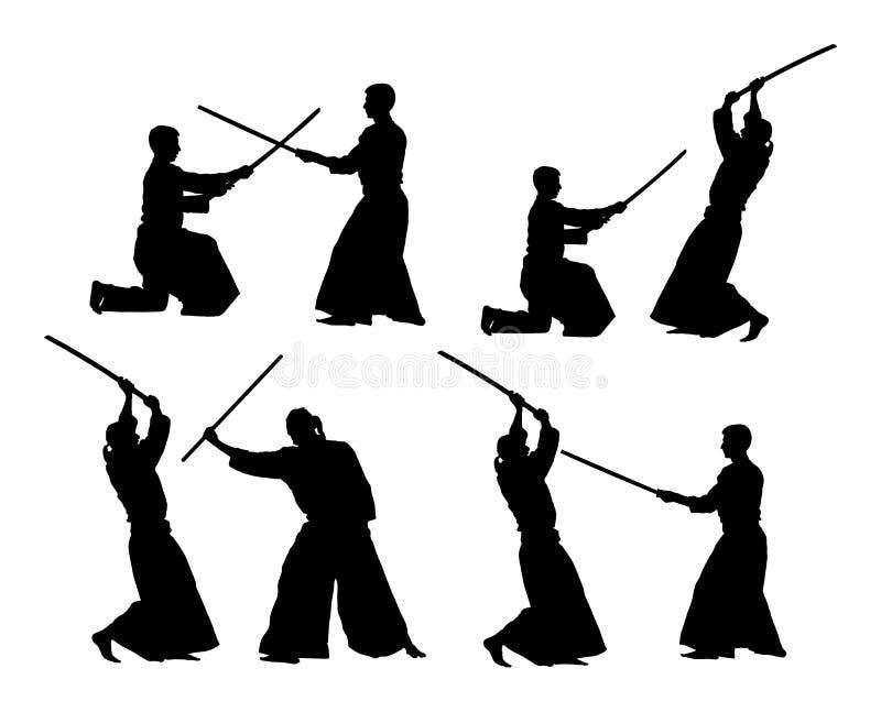 Strijd tussen illustratie van het het silhouetsymbool van twee aikidovechters de vector Sparring op opleidingsactie Zelf - defens royalty-vrije illustratie