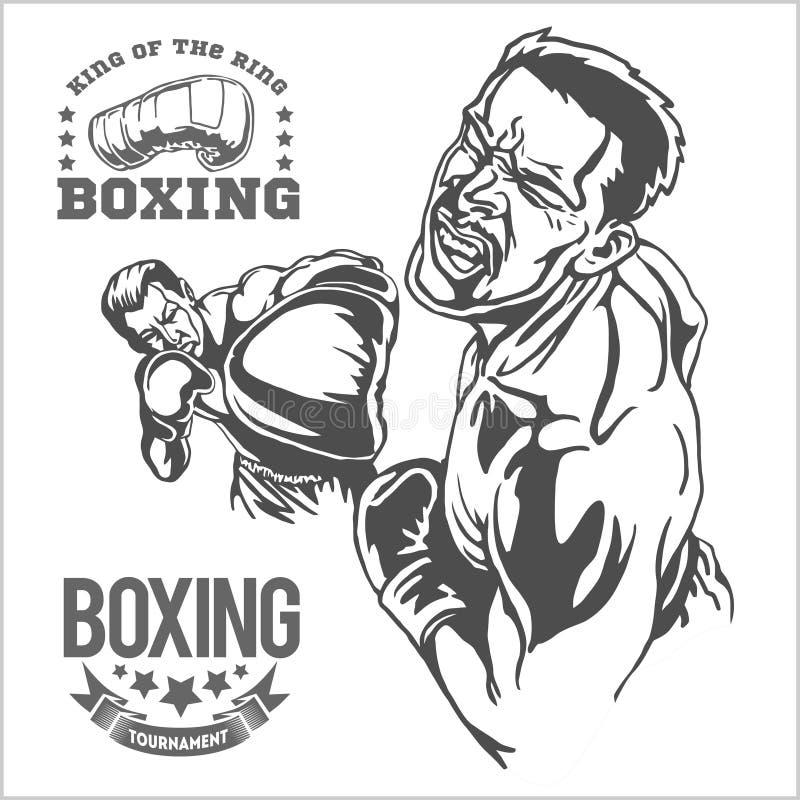 Strijd tussen twee boksers - zwart-wit illustraties royalty-vrije illustratie
