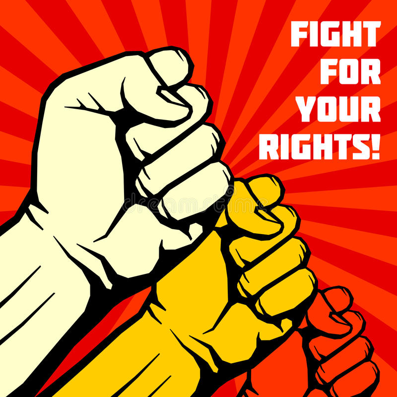 Strijd voor uw rechten, solidariteit, revolutie vectoraffiche vector illustratie