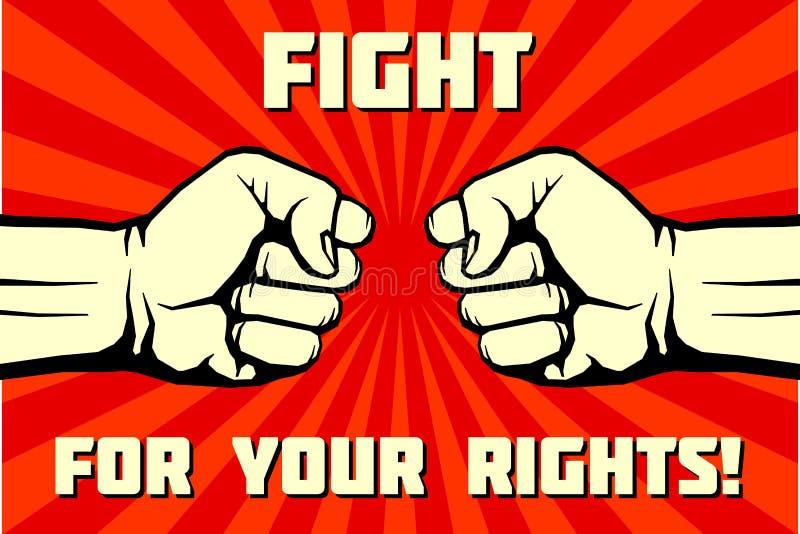 Strijd voor uw rechten, solidariteit, revolutie vectoraffiche royalty-vrije illustratie