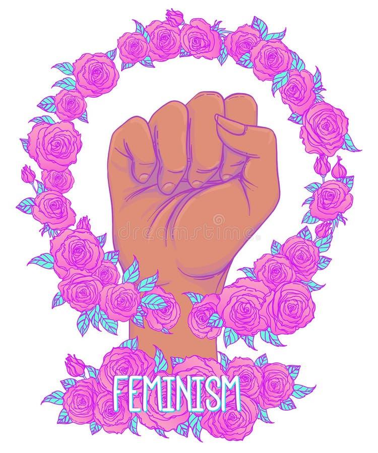 Strijd zoals een meisje De hand van de vrouw met het messing van het kristalkwarts knuckl vector illustratie