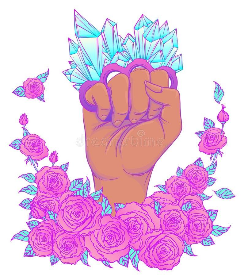 Strijd zoals een meisje De hand van de vrouw met het messing van het kristalkwarts knuckl stock illustratie