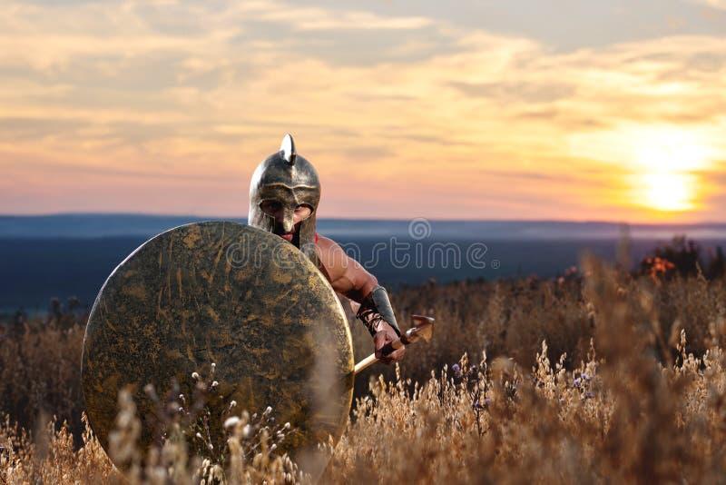 Strijder als het Spartaanse doorgaan in aanval stock afbeeldingen