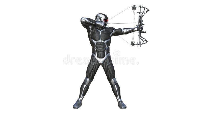 Strijder Archer, futuristische militair met boog en pijl die op witte achtergrond wordt geïsoleerd stock illustratie