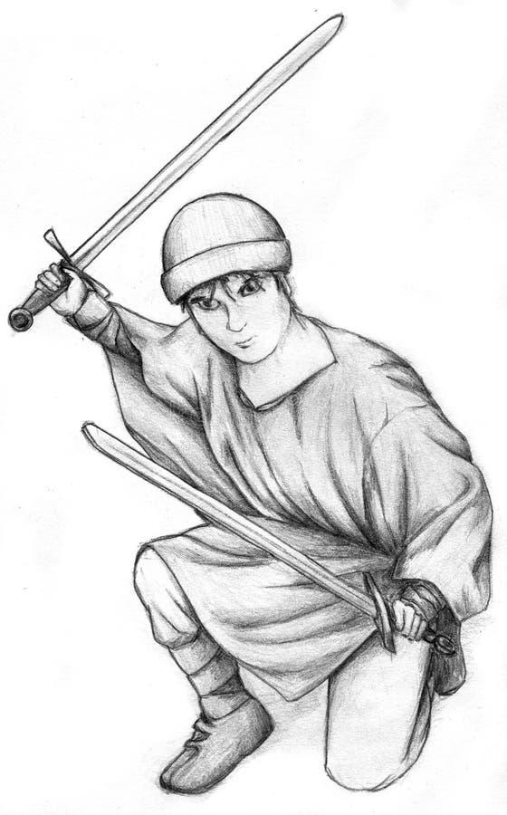 Strijder met twee zwaarden royalty-vrije illustratie