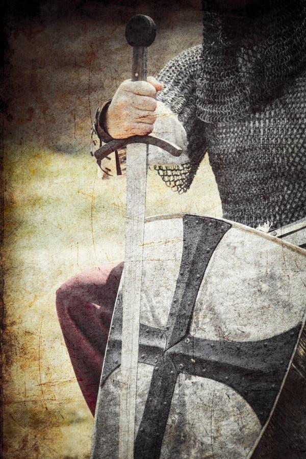 Strijder met zwaard en schild royalty-vrije stock afbeelding