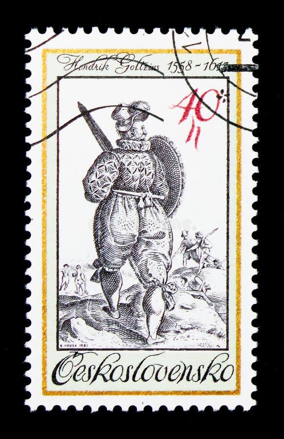 Strijder met Zwaard en Schild, gravure, 17de eeuw, Oude Unif stock foto