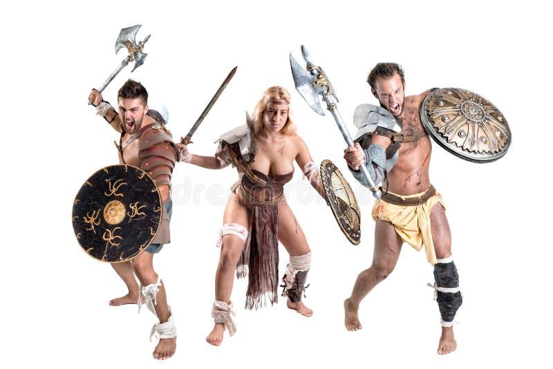 Strijders/gladiatoren stock foto's