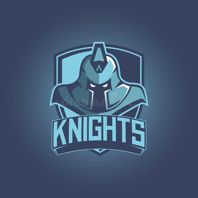 Strijdersmascotte voor sportteams Ridder met schild, embleem, symbool op een lichte achtergrond stock illustratie