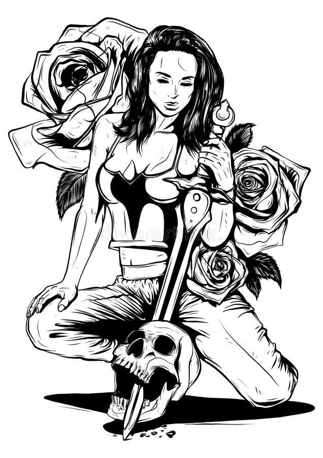 Strijdersmeisje met een zwaard en een schildvector stock foto