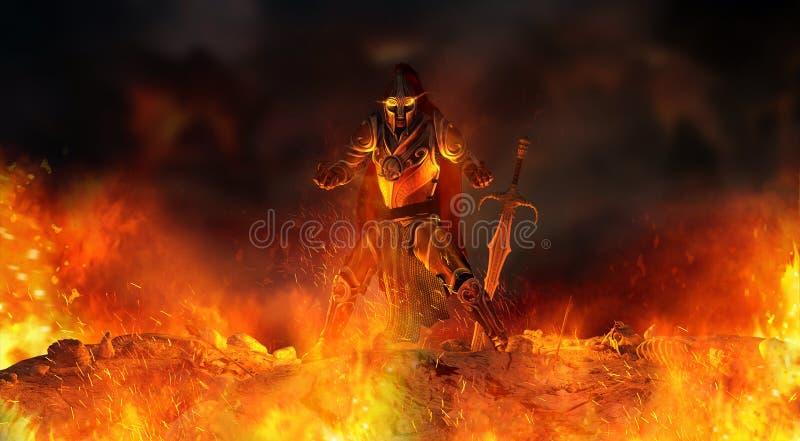 Strijdersridder in vlammen wordt omringd die vector illustratie