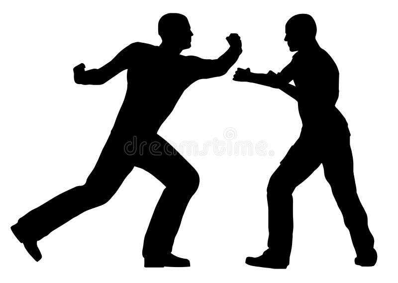 Strijdscène tussen Geïsoleerde Street Fighter-Silhouetten vector illustratie