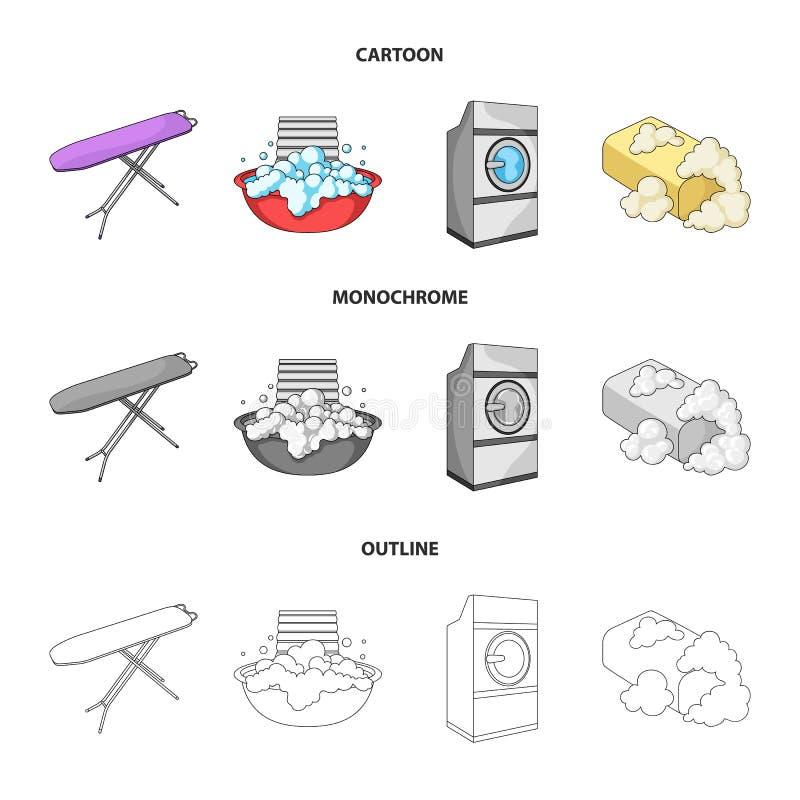 Strijkplank en andere toebehoren Pictogrammen van de chemisch reinigen de vastgestelde inzameling in beeldverhaal, overzicht, zwa vector illustratie