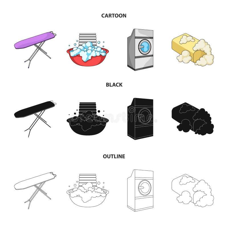 Strijkplank en andere toebehoren Pictogrammen van de chemisch reinigen de vastgestelde inzameling in beeldverhaal, zwarte, het ve vector illustratie