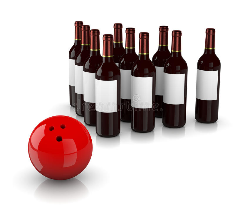 Strike Alcoholism. Set of Glass Wine Bottles as Skittles and Bowling Ball on White Background, Strike Alcoholism Concept vector illustration