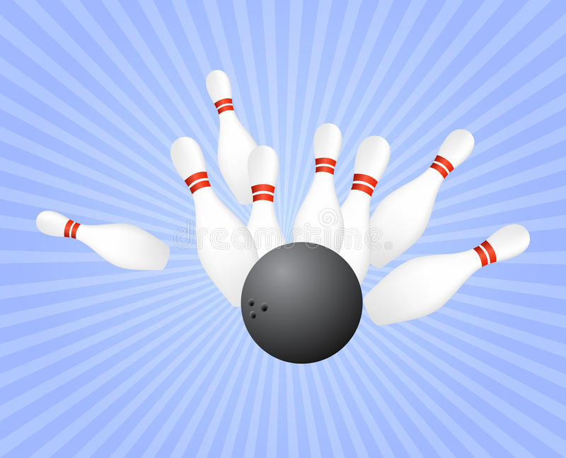 Strike at bowling royalty free illustration
