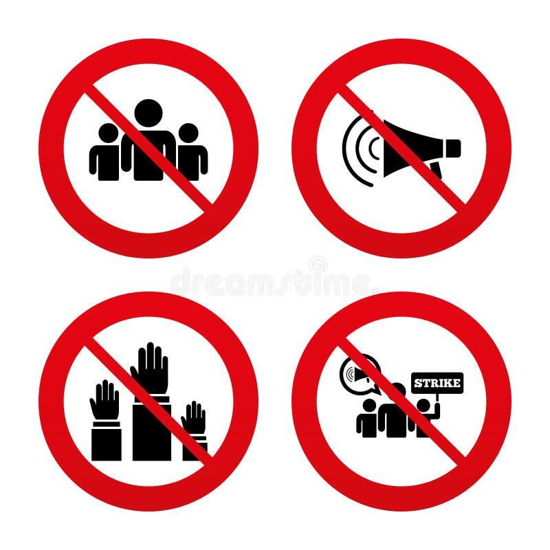 Strike group of people. Megaphone loudspeaker stock illustration
