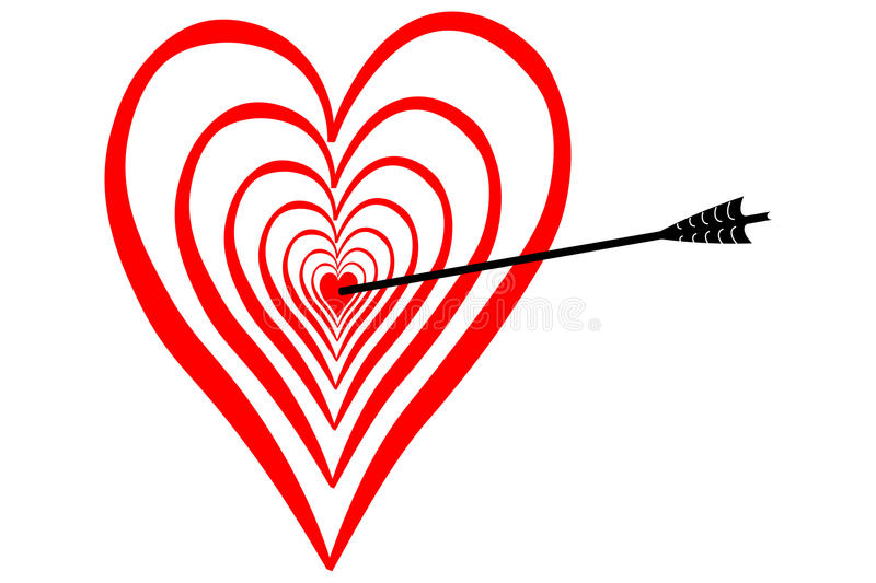 Strike in love, in the middle of the heart, dartboard with arrow stock illustration