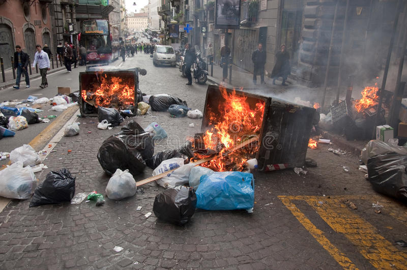 Strike in naples. Strike and violence during a strike in Naples, italy royalty free stock image