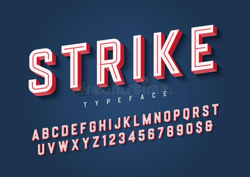 Strike trendy inline sports display font design, alphabet, typeface, letters and numbers, typography. stock images
