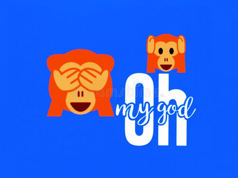 A striker of a `OH my God` . Vector. A striker of a `OH my God`. Two monkeys are showing vector illustration
