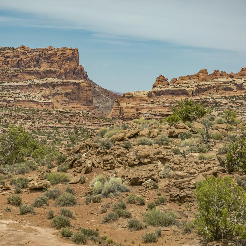 Striking cliffs and desert landscape in Moab Utah stock photography