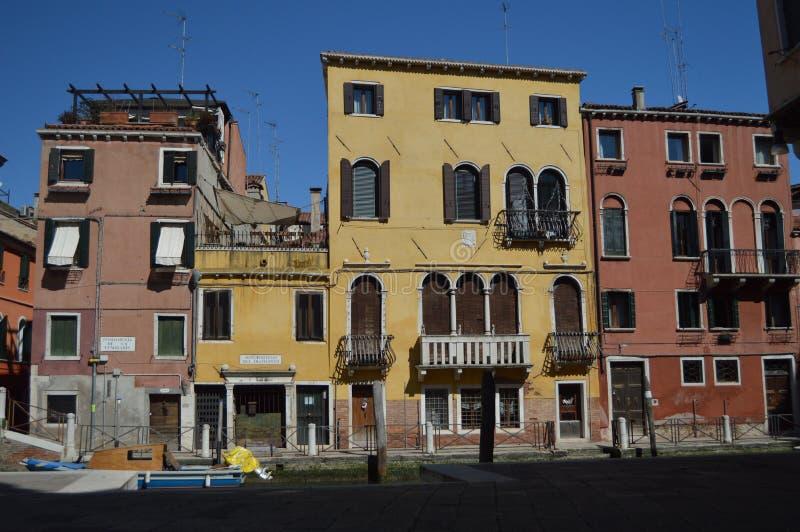 Striking Colorful Buildings In The Sotoportego Del Diamante In Venice. Travel, holidays, architecture. March 28, 2015. Venice, stock photos