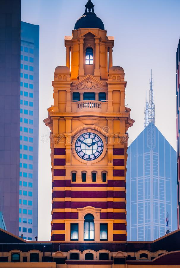 Flinders Street railway station, Melbourne, Australia clock tower in the afternoon sunshine royalty free stock images